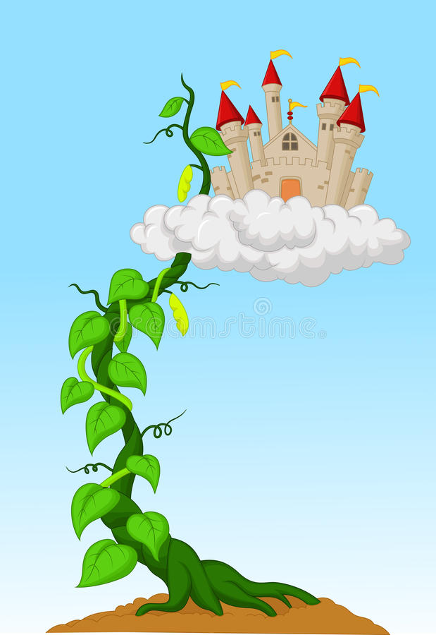 Росток фасоли с замком в облаках иллюстрация штока