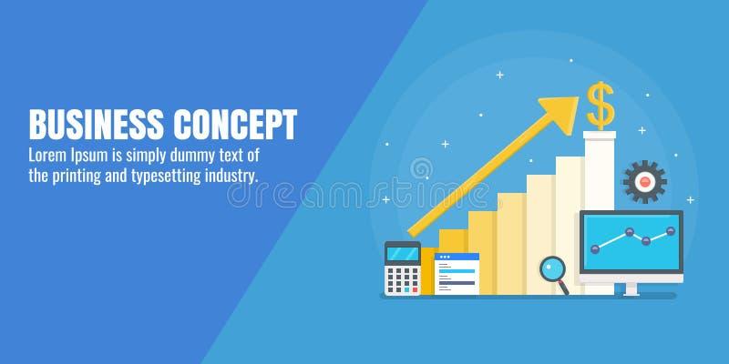Рост дела, доход маркетинга увеличения, онлайн продажи изображает диаграммой концепцию Плоское знамя вектора дизайна иллюстрация вектора