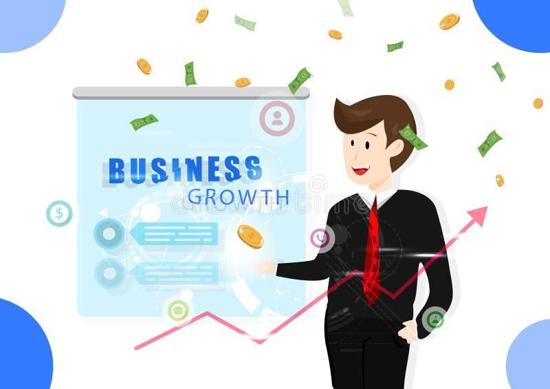 Рост дела, человек работая, символ данным по технологии, вклад, деньги падая, успешная иллюстрация выгоды вектора иллюстрация вектора