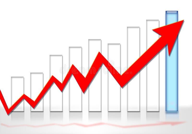рост диаграммы в виде вертикальных полос иллюстрация штока