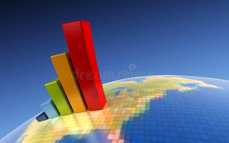 рост диаграммы 3d иллюстрация штока
