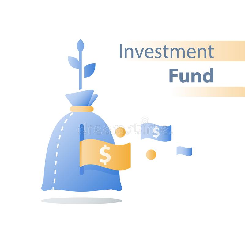 Рост дохода, инвестирует фонд, рост дохода, рентабельность инвестиций, долгосрочное управление богатства, больше денег, высокий и иллюстрация вектора