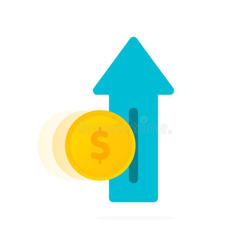 Рост дохода - растя стрелка с монетками изолированными на белой предпосылке Поддерживая доход Возвращение вклада зацепляет икону иллюстрация вектора
