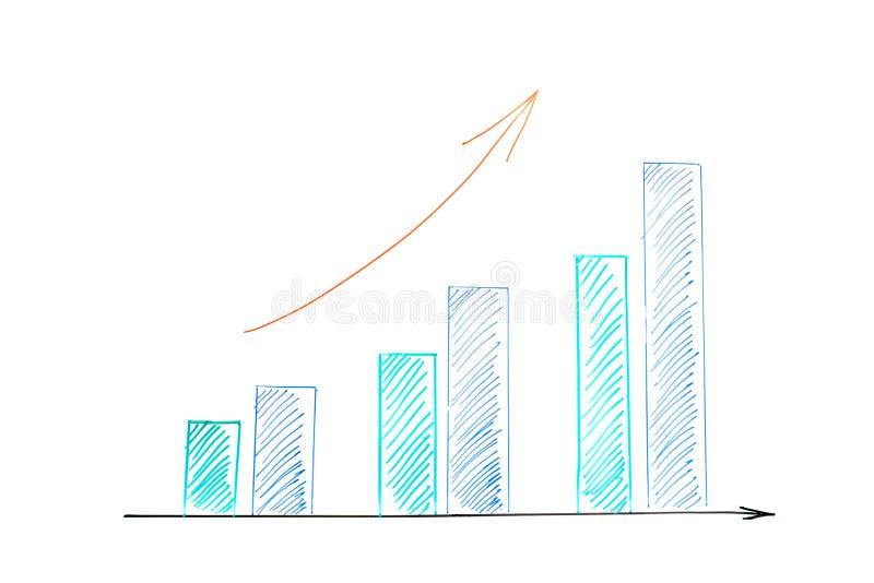 Рост дела диаграммы в виде вертикальных полос вверх стоковые изображения rf