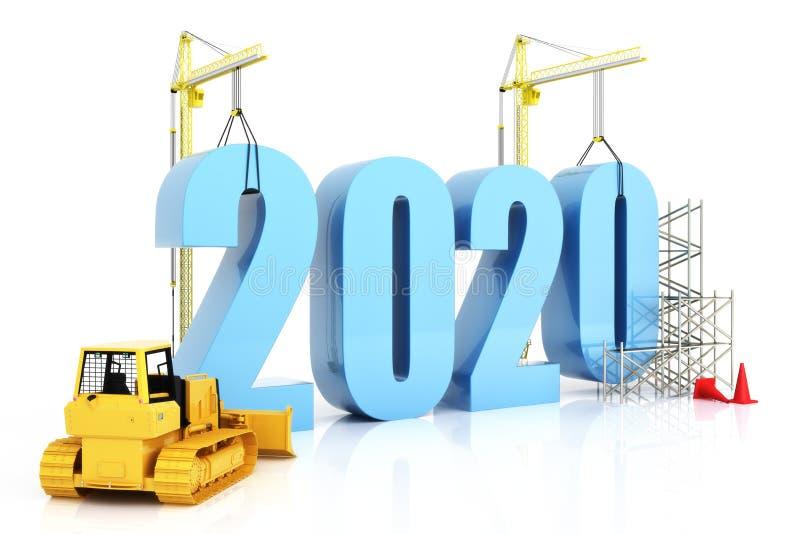 Рост 2020, здание, улучшение в деле или вообще концепция года в годе 2020 на белой предпосылке бесплатная иллюстрация