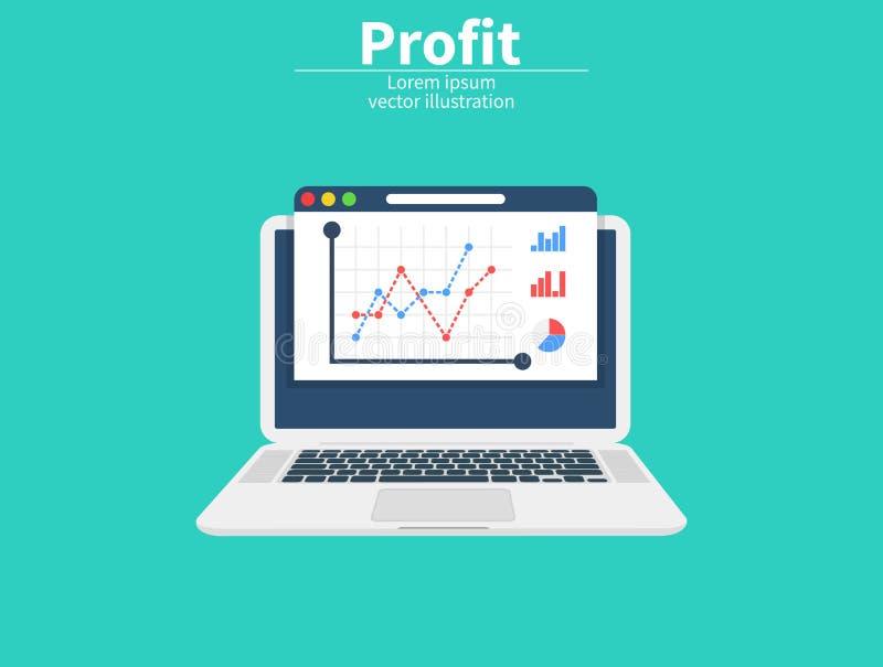 Рост прибыли на экране, концепция вклада увеличьте профит 2d pixelization диаграммы дела Данные по рынка аналитические финансовох иллюстрация штока