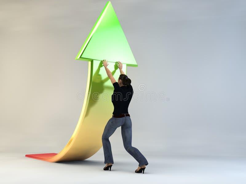 рост продаж характера женщины 3d бесплатная иллюстрация
