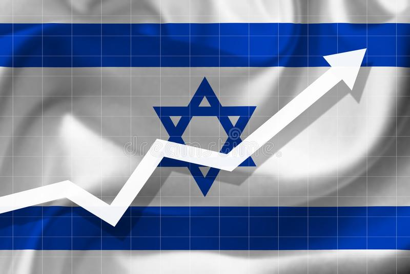 Рост стрелки вверх на предпосылке флага Israe стоковые изображения
