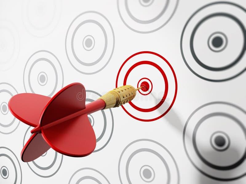 дротик ударяя красную цель иллюстрация вектора