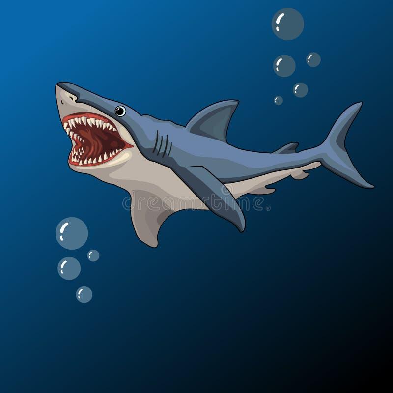 Рот акулы открытый, иллюстрация вектора иллюстрация штока