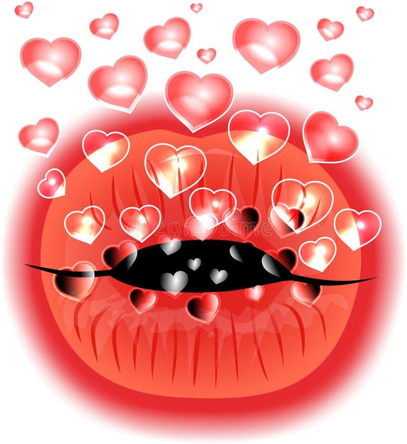 Рот с сердцами стоковое изображение