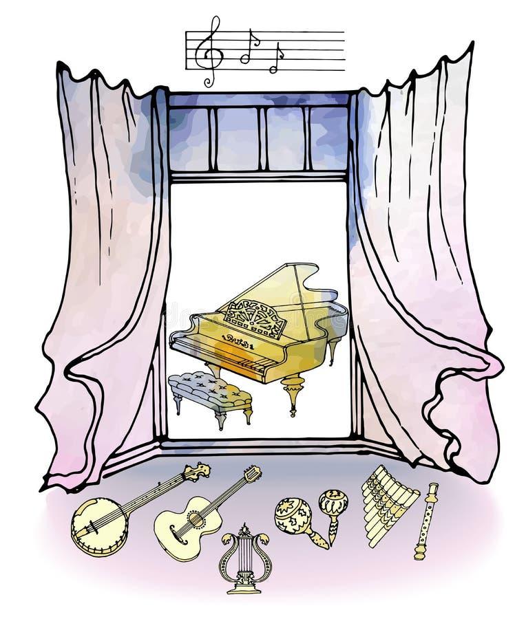 рояль акварели музыки окна ретро иллюстрация штока