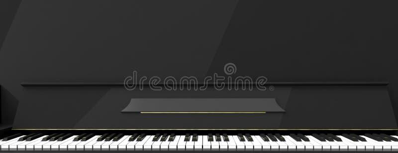 Рояль пользуется ключом вид спереди, знамя иллюстрация 3d иллюстрация штока
