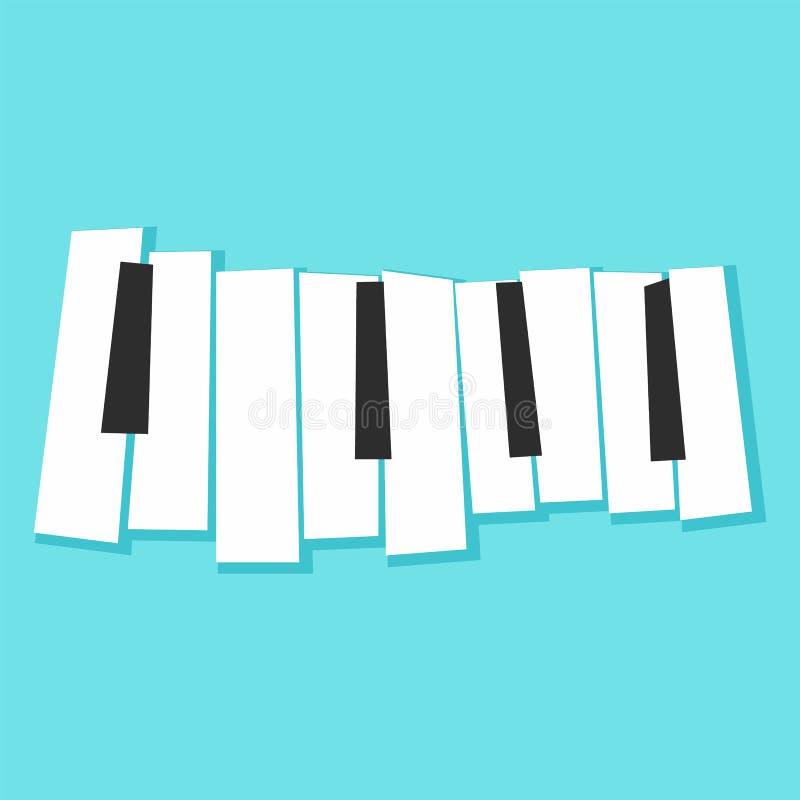 Рояль пользуется ключом значок, плоский стиль иллюстрация штока
