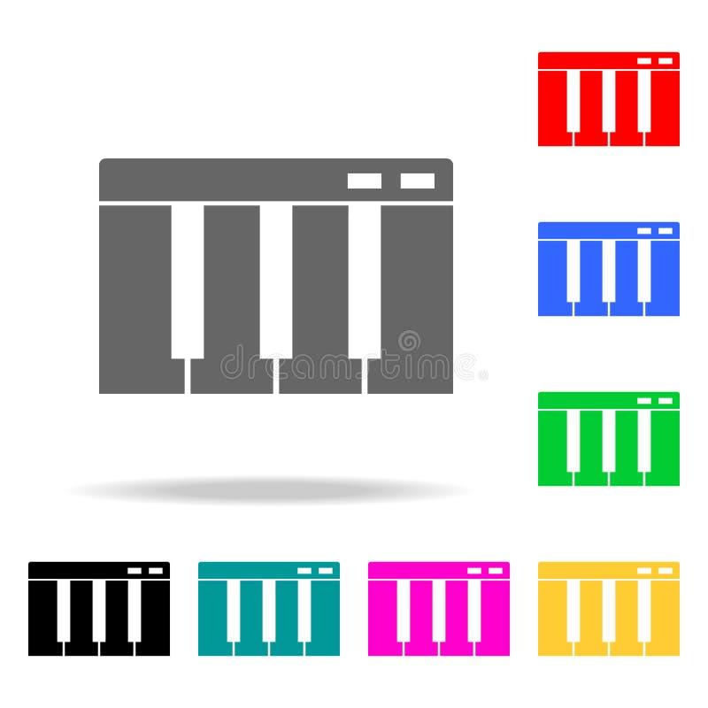 Рояль пользуется ключом значок Элементы значков партии multi покрашенных Наградной качественный значок графического дизайна Прост иллюстрация штока