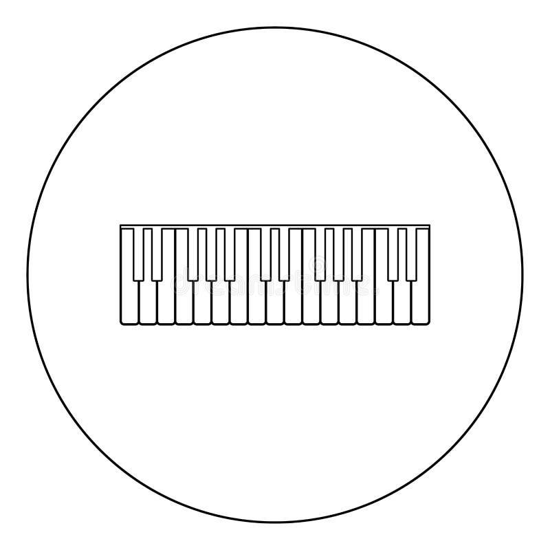 Рояль пользуется ключом цвет значка черный в круге иллюстрация штока
