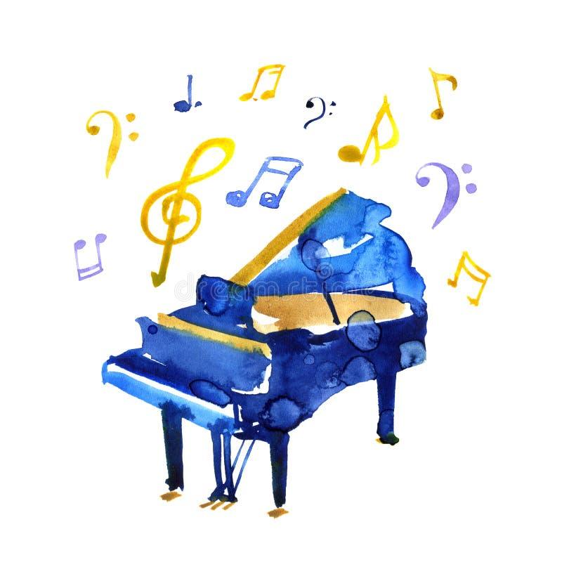 Рояль эскиза акварели на белой предпосылке Иллюстрация джаза иллюстрация штока