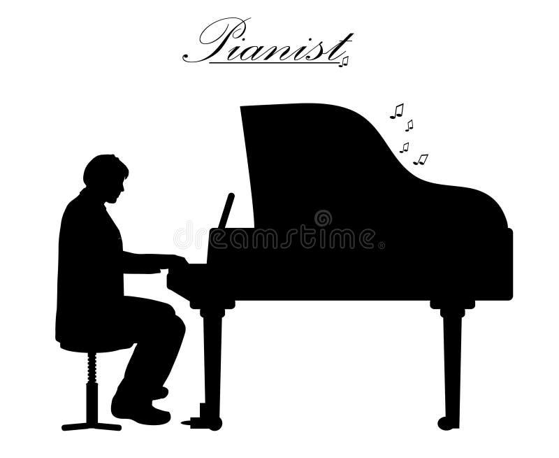 рояль игры человека иллюстрация вектора
