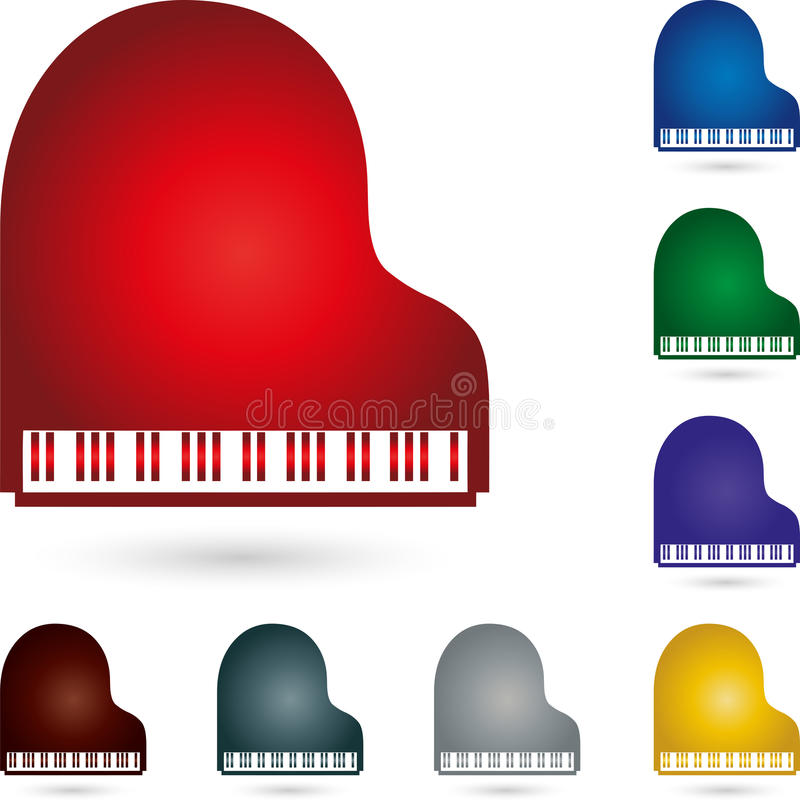 Рояль, музыка и логотип рояля иллюстрация вектора