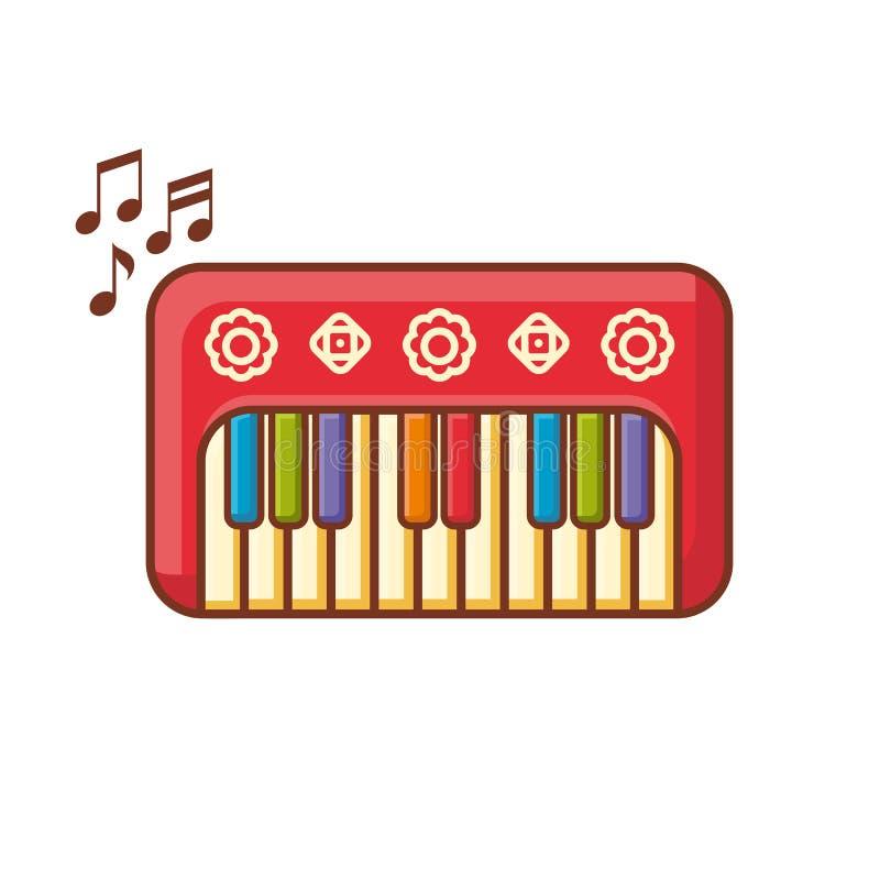 Рояль Музыкальный инструмент для ребенк иллюстрация плодоовощ еды архивов предпосылки младенца изолировала предметы тип там toy о иллюстрация штока