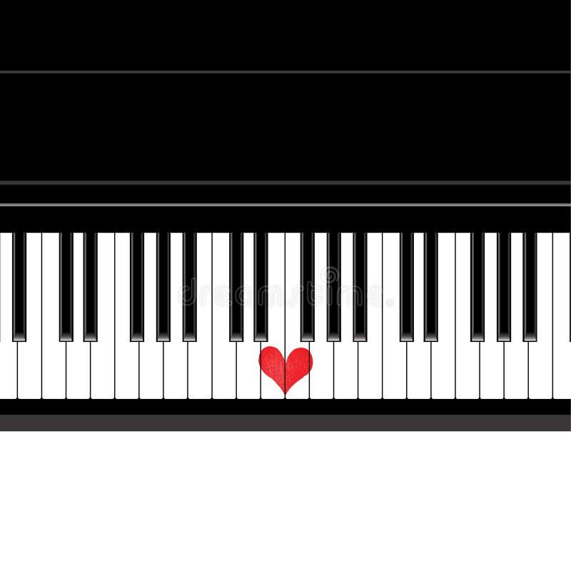 Рояль музыки влюбленности сердца бесплатная иллюстрация
