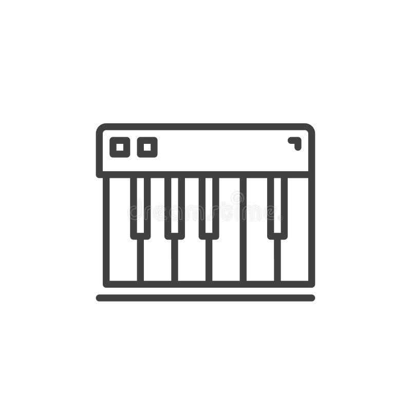 Рояль пользуется ключом линия значок, знак вектора плана, линейная пиктограмма стиля изолированная на белизне иллюстрация вектора