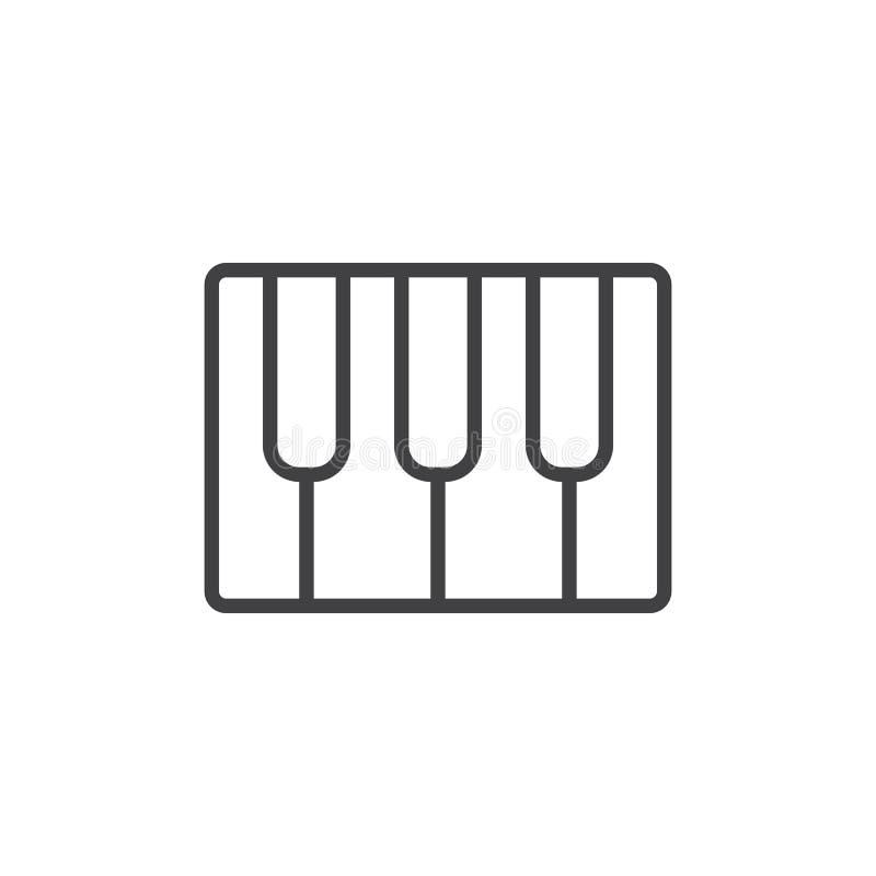 Рояль пользуется ключом линия значок, знак вектора плана, линейная пиктограмма стиля изолированная на белизне бесплатная иллюстрация