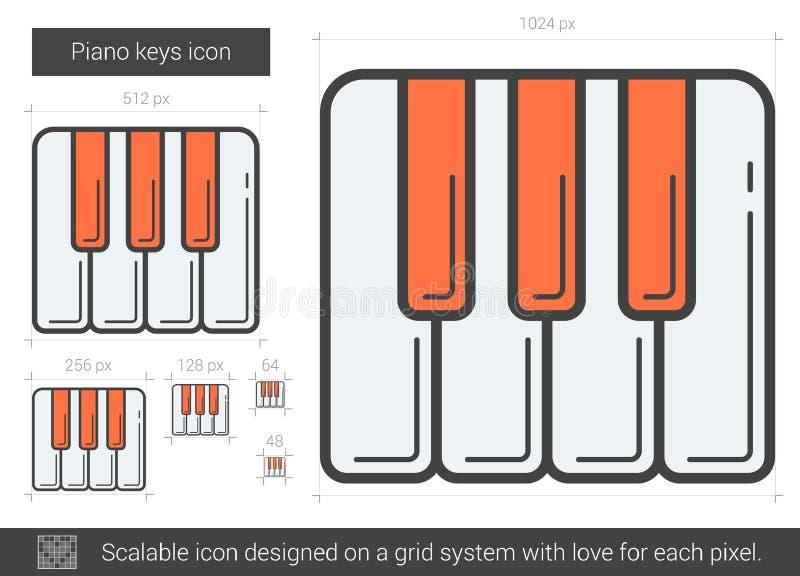 Рояль пользуется ключом линия значок иллюстрация вектора