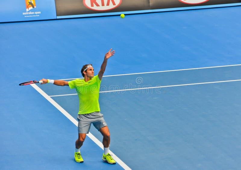 Роджер Federer играя в открытом чемпионате Австралии по теннису стоковое фото rf