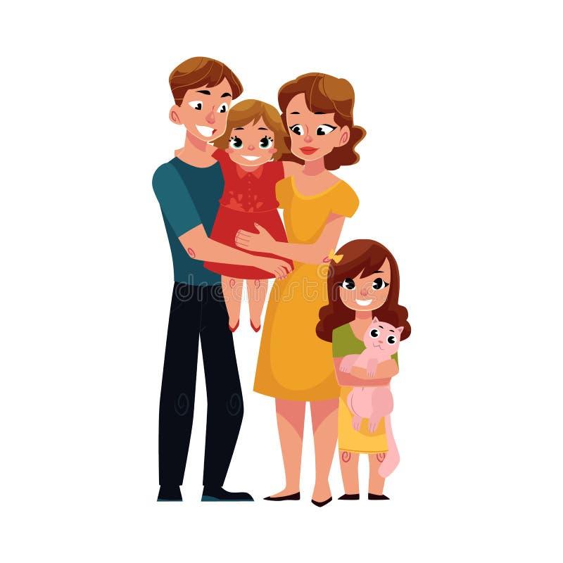 Родители, мама и папа, держа маленькую дочь, любящий портрет семьи иллюстрация штока