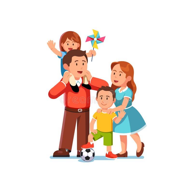 Родители мама и папа стоя вместе с детьми иллюстрация вектора