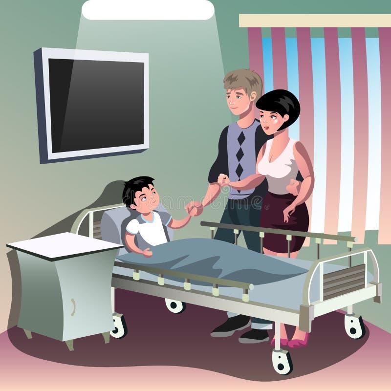 Родители при больной мальчик лежа в медицинской кровати иллюстрация вектора