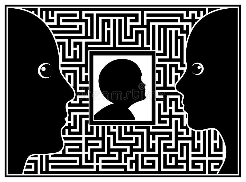 Родители с аутистическим ребенком иллюстрация вектора