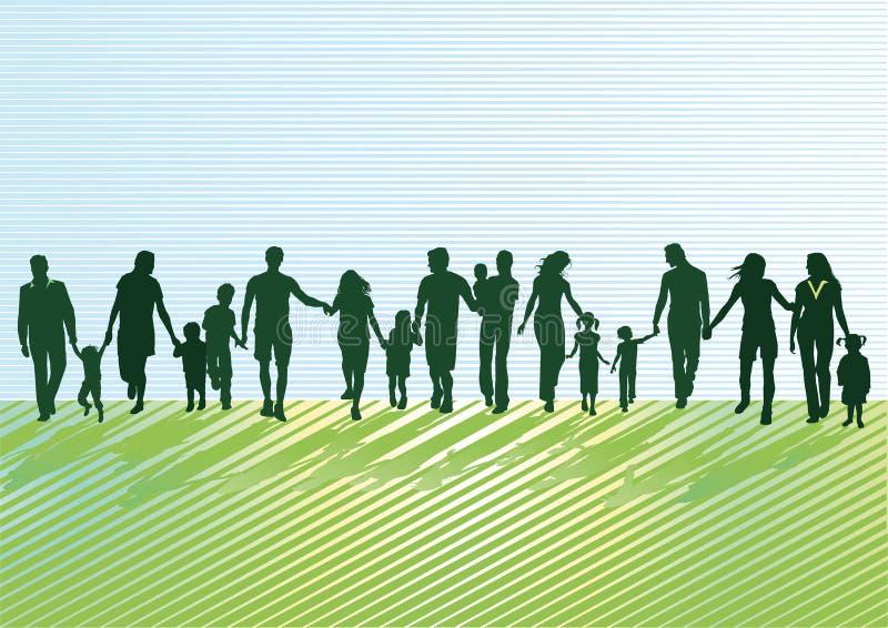 Родители с детьми и молодые люди иллюстрация штока
