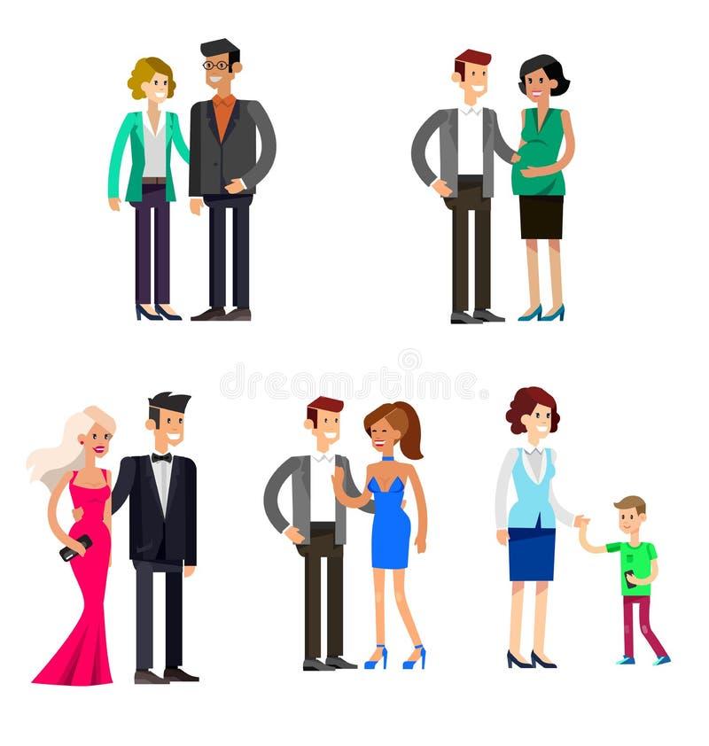 Родители с детьми, парами, семьей и детьми бесплатная иллюстрация