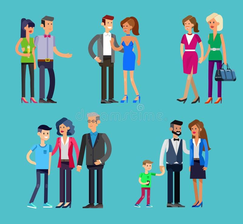 Родители с детьми, парами, семьей и детьми иллюстрация штока