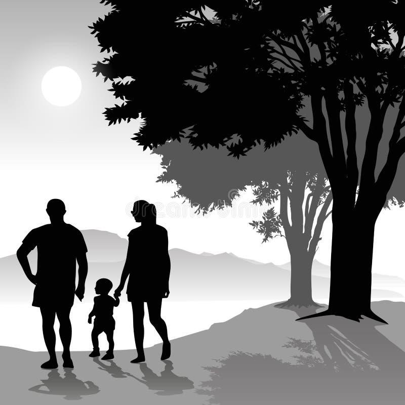 Родители с ребенком иллюстрация штока
