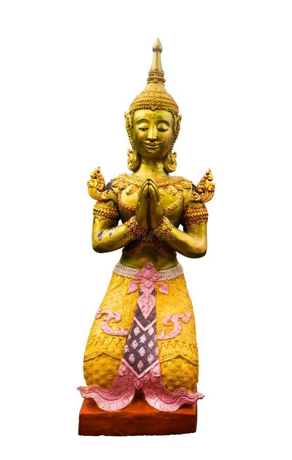 Родная тайская статуя ангела стиля на белой предпосылке клиппирование стоковая фотография rf