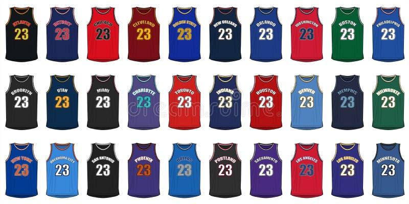Родовые рубашки американских городов баскетбола иллюстрация вектора