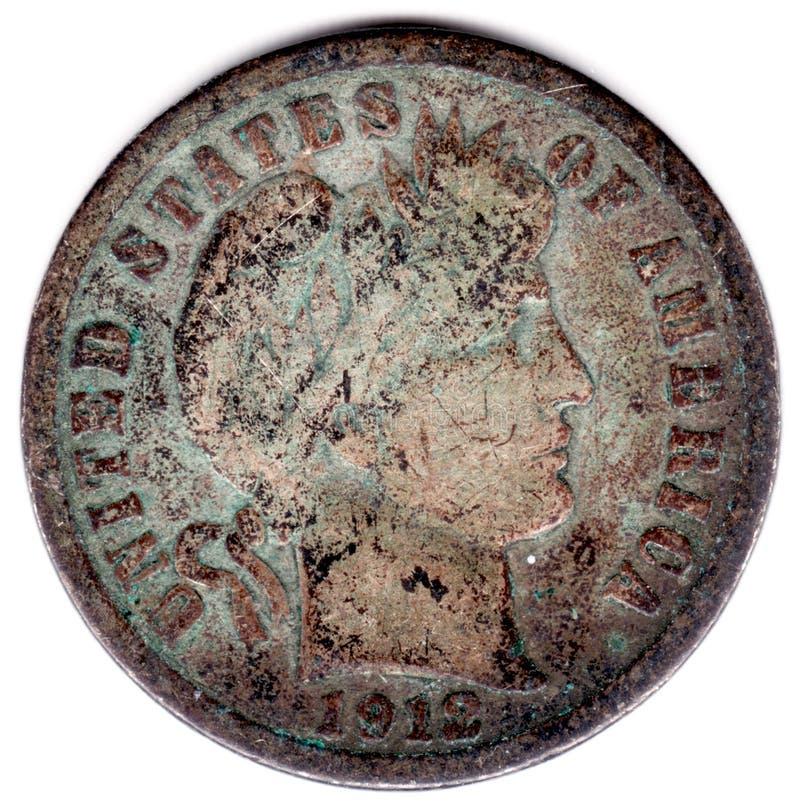ртуть 1912 монета в 10 центов стоковые фотографии rf