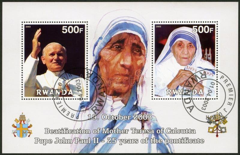 РУАНДА -2003: выставки мать Тереза и Папа Иоанн Павел II стоковые изображения rf