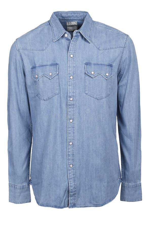 Рубашка голубых джинсов мужская стоковое изображение rf