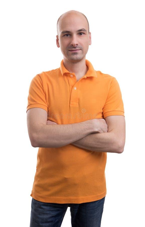 Рубашка поло облыселого человека нося стоковые изображения rf