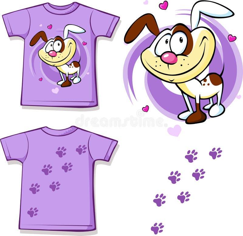Рубашка ребенк при милая напечатанная собака иллюстрация штока