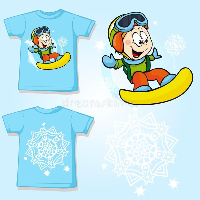 Рубашка ребенк при напечатанный snowboarder иллюстрация штока