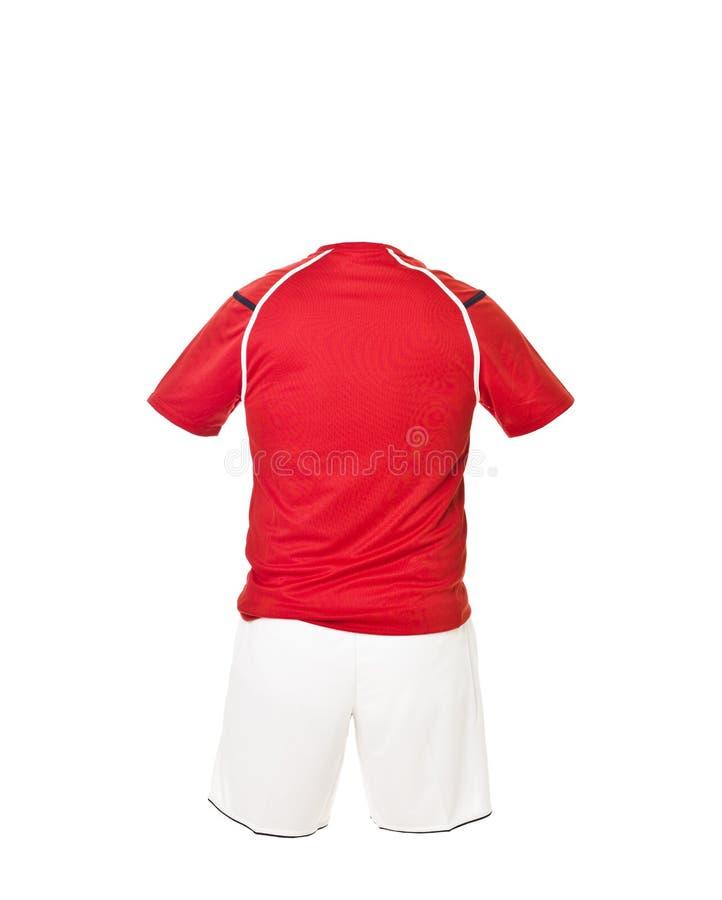 рубашка футбола красная замыкает накоротко белизну стоковые изображения