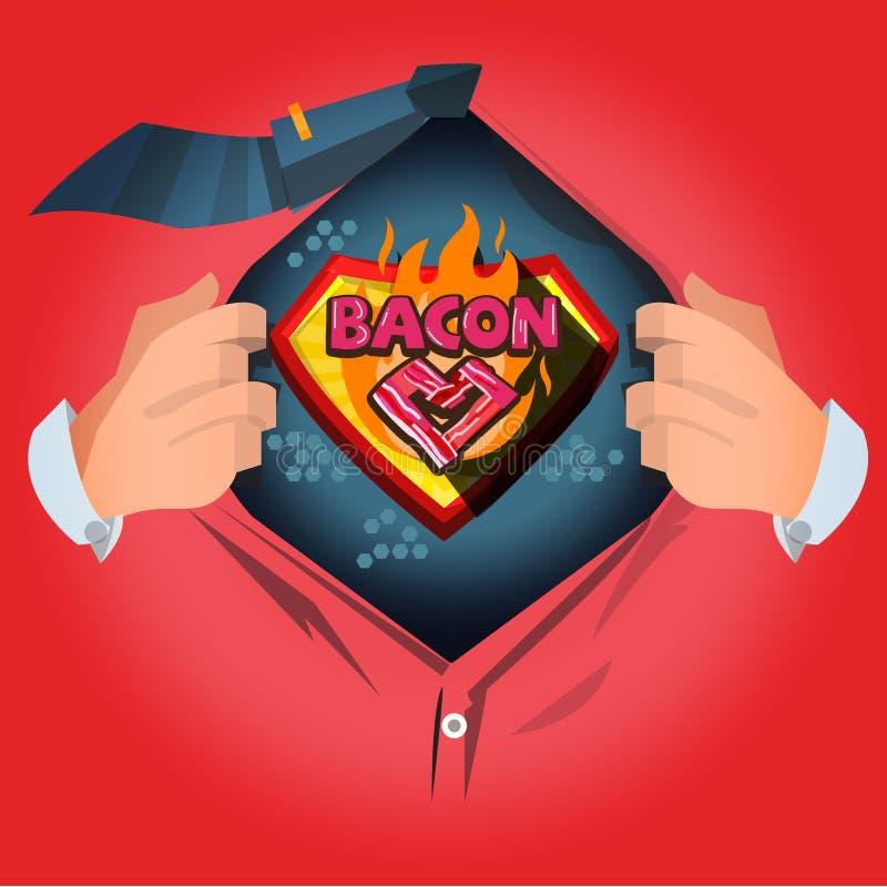 """Рубашка человека открытая для того чтобы показать логотип """"бекона """" любовник бекона или специалист бекона - вектор иллюстрация штока"""