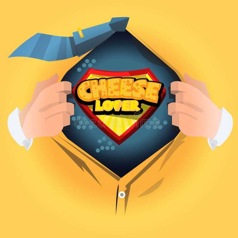 """Рубашка человека открытая для того чтобы показать логотип """"сыра """" любовник сыра или мастерская концепция - вектор иллюстрация штока"""