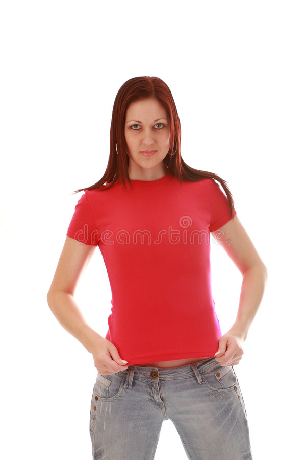 Download рубашка t девушки розовая стоковое фото. изображение насчитывающей джинсыы - 6855150