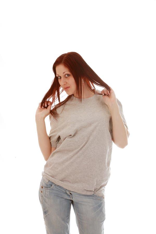 Download рубашка t девушки серая стоковое изображение. изображение насчитывающей молодо - 6858403